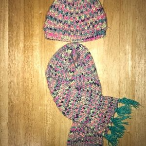 Girls Knitted Hat and Scarf Set